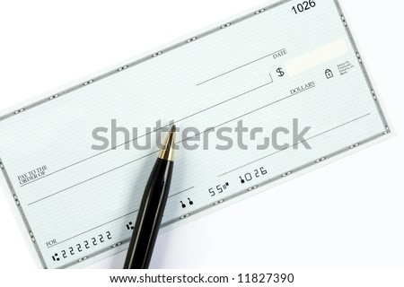 A blank check with a ballpoint pen. The account  and routing numbers are fake. - stock photo
