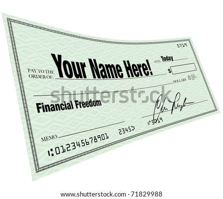 A blank check with Your Name Here on the payee line and words Financial Freedom symbolizing the solution to a budget problem - stock photo