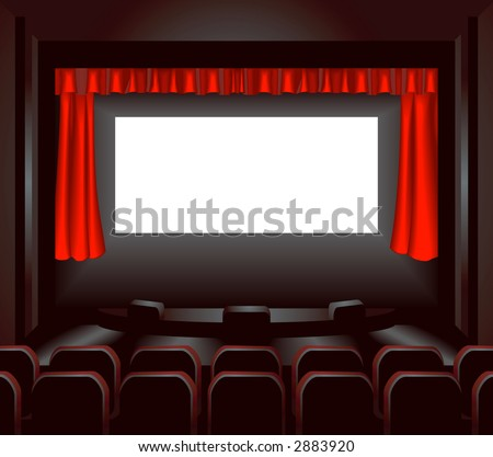 a blank cinema screen lighting up a dark movie theatre for you to place what you like on. Raster version - stock photo