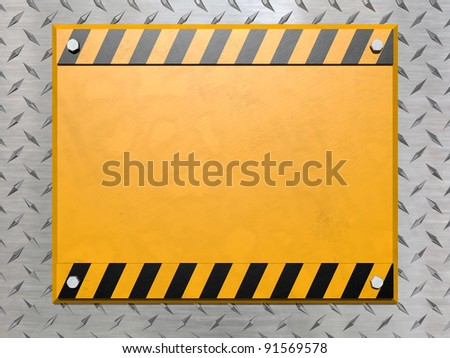 A blank construction sign bolted to a diamond plate background - stock photo