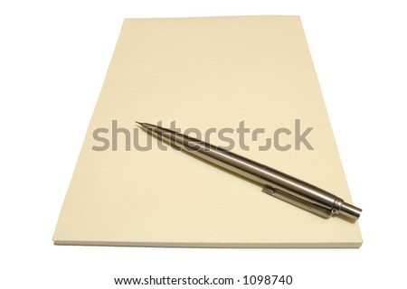 A blank cream writing pad with a metal pen.