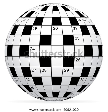 A blank crossword in form world globe - stock photo