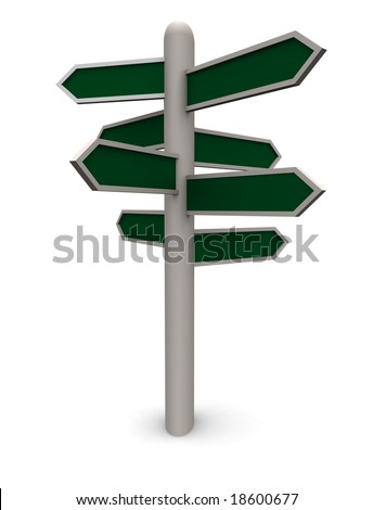 a Blank 3D rendered direction sign with multiple green arrow shaped signs pointing in all different directions . Add your own words to each of the arrows. - stock photo