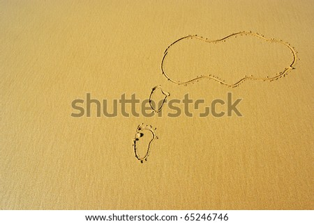 a blank dream / think bubble drawn on the sand as a background - stock photo