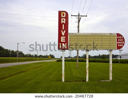A blank drive-in movie theater sign - stock photo