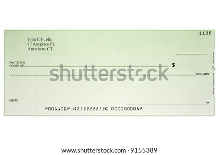 Blank Bank Checks Isolated On White Stock Vector 266006621 ...