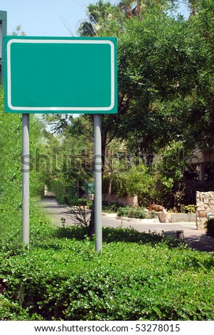 A Blank green Sign on a pole