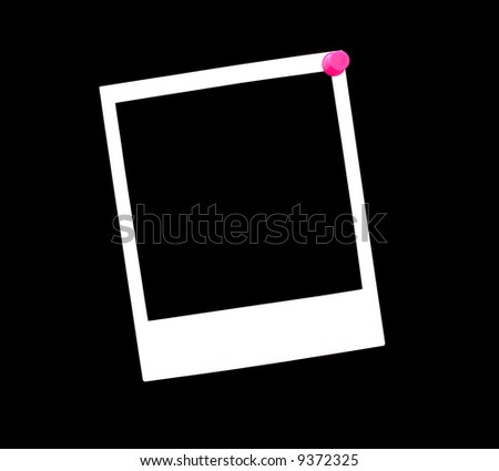 A blank instant photo pinned to a black background with a pink thumbtack. - stock photo