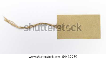 A blank label with string isolated on white background.