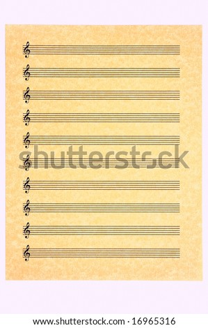 A blank music sheet, treble clef, on parchment paper ready for your composition. Isolated. - stock photo