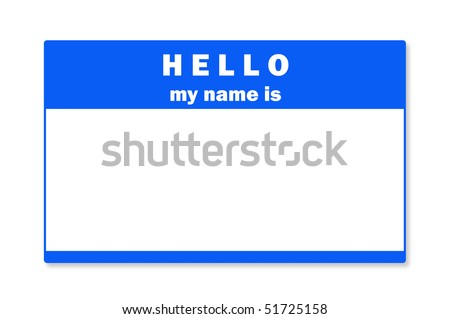 A blank name tag with clipping path for use as a design element. - stock photo