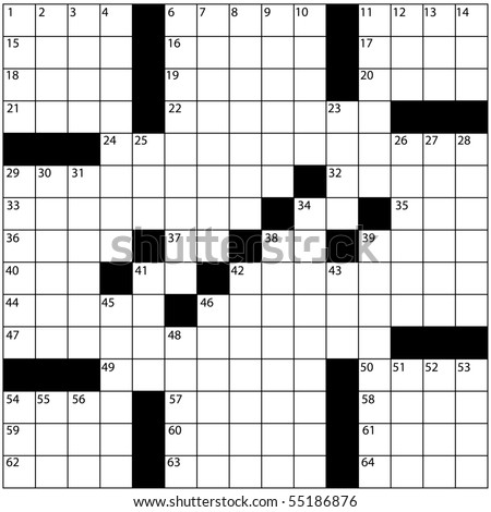 A Blank Newspaper Style Crossword Puzzle With Numbers In The Word Grid