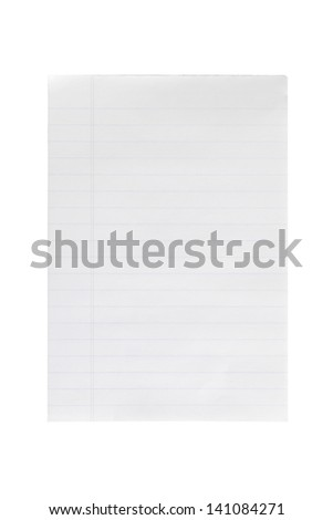 A blank notebook page placed alone in a white background