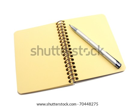 A blank notebook & pen with copy space on a white background - stock photo