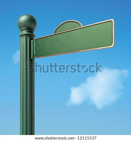 A Blank Old-Fashoned Urban Street Sign. - stock photo