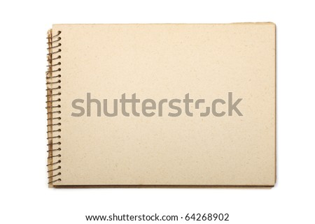 A blank open wide aged notebook with recycled paper. Isolated on white with clipping path. - stock photo