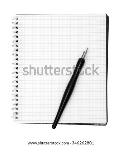 A blank open wide notebook isolated on white with clipping path. - stock photo