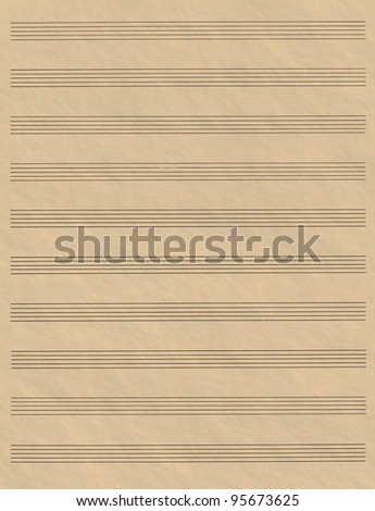 A blank page of sheet music with ruled hand drawn lines made to look like aged parchment - stock photo