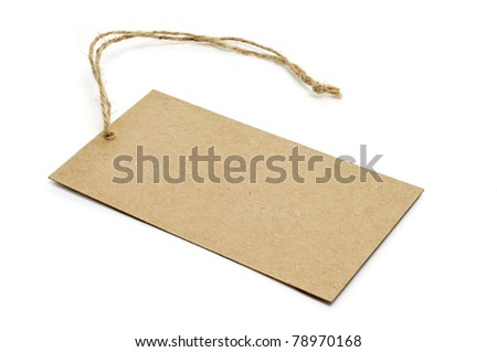 a blank paper label isolated on a white background