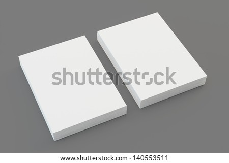 A4 Blank paper stack isolated on grey - stock photo