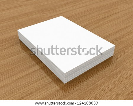 A4 Blank paper stack, mockup, wood background - stock photo