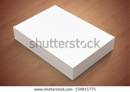 A4 Blank paper stack on wood background - stock photo