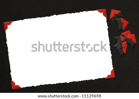 A blank photo on an album page. File has clipping path around photo and corners attached to photo. - stock photo