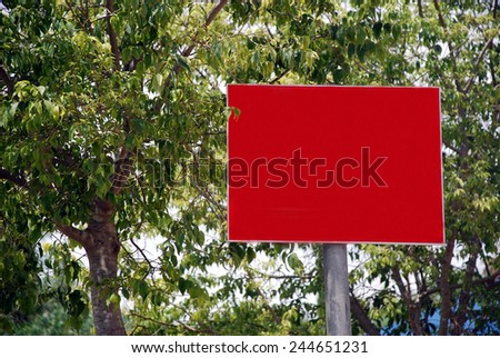 A Blank red Sign on a pole - stock photo