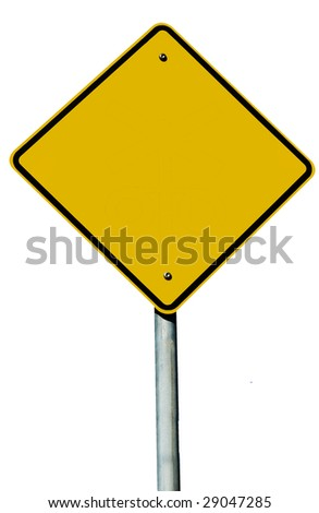 A blank road sign isolated on white - stock photo
