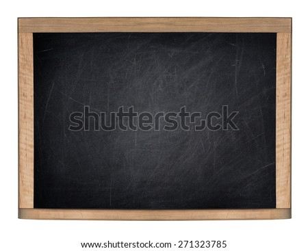A blank school black board is isolated on a white background.