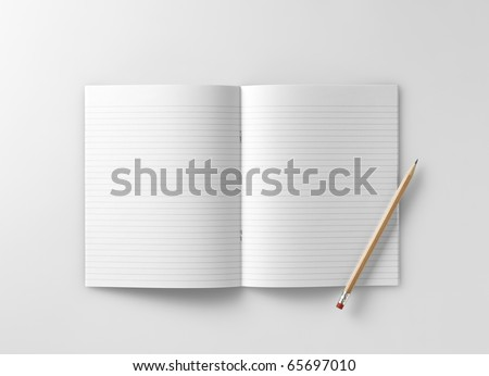 a blank school exercise notebook  book  jotter with pencil - stock photo