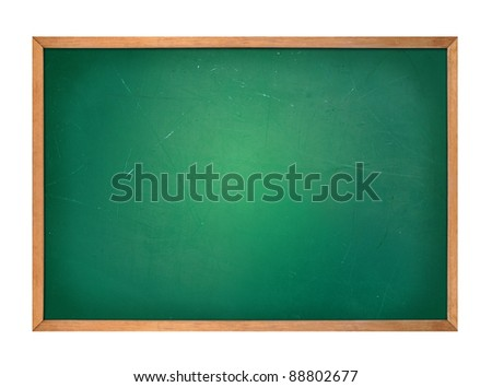 A blank school green board is isolated on a white background. Use it for an education or school concept and add your message.