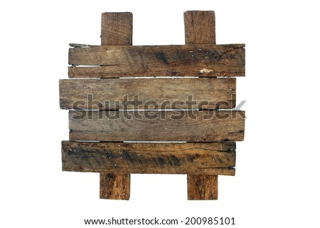 A blank sign made with real aged and weathered wood.  Place your own text or graphics on the wood slats.  Generous copyspace. - stock photo