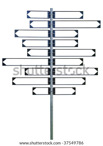 A blank signpost with eighteen arrows, nine to the left and nine to the right. - stock photo