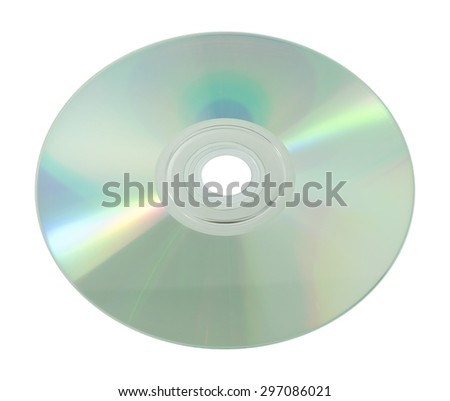 A Blank Silver Surface CD or DVD Compact Disc Isolated on White Background. - stock photo