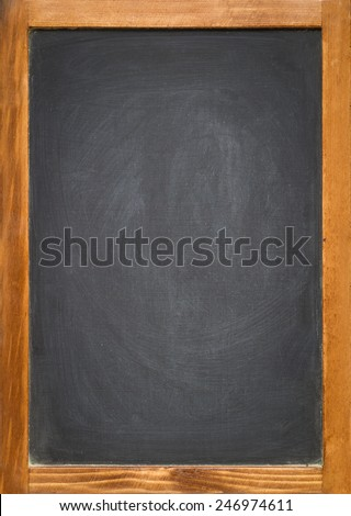 A blank slightly dirty chalkboard / blackboard in an old wooden frame - stock photo