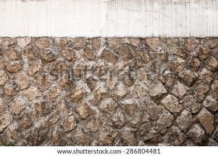 A blank, slightly weathered stone wall, perfect for background and messages. - stock photo