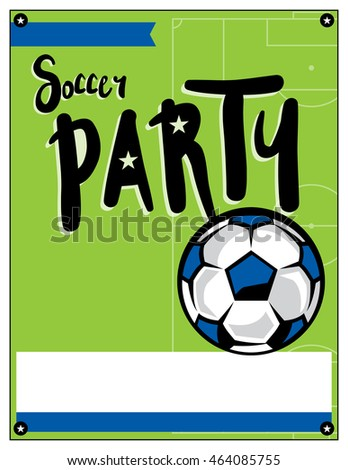 A blank soccer party theme invitation template.
