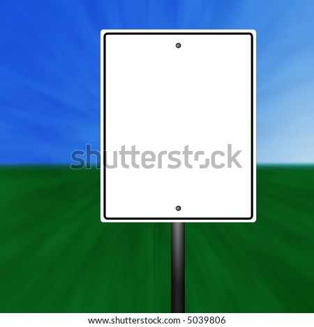 A blank speed limit sign illustration with a grass and sky background.