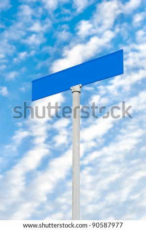 A blank street sign against a blue sky.  Designer can place any text onto the empty blue sign.