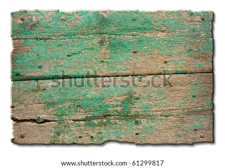 a blank tablet of wood with old nails and remains of green paint,  wooden banner for sign and inscription