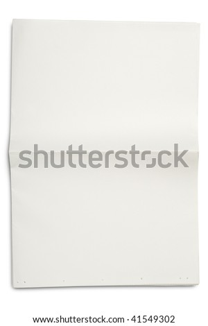 a blank unfolded newspaper on white - with clipping path