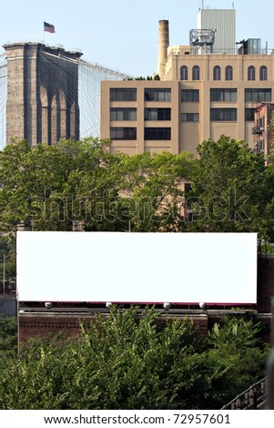 A blank urban advertising billboard with copy space ready for your design or concept. Great for real world design proofing or mock ups. - stock photo