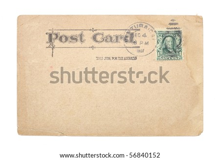 A blank, vintage United States postcard from 1907 with a green, canceled, one-cent stamp. Post card shows water stains and creases.