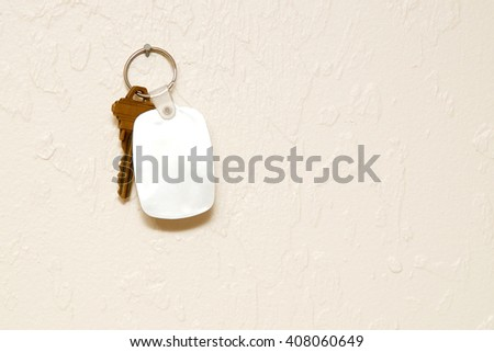 A blank white rubber key fob on keyring with a single brass key hanging on wall. Copy space on fob and wall.