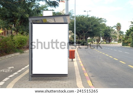 A Blank white Sign on Bus station