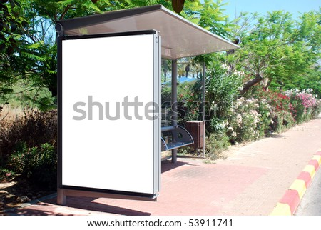 A Blank white Sign on Bus station with a copy space area - stock photo