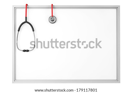 A blank whiteboard with a stethoscope on a white background - stock photo