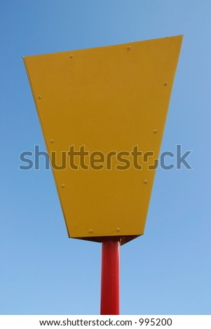 A blank yellow and red information sign with clipping path - stock photo