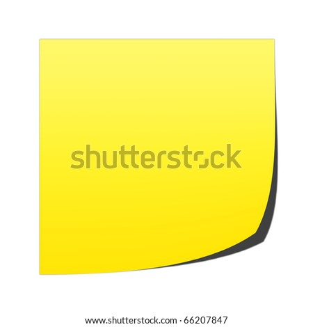 A blank, yellow post it note on a white background